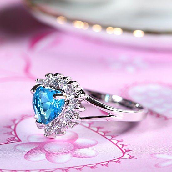 NEW WEDDING Gift Heart Cut Aquamarine Gold Plated Fashion Jewelry