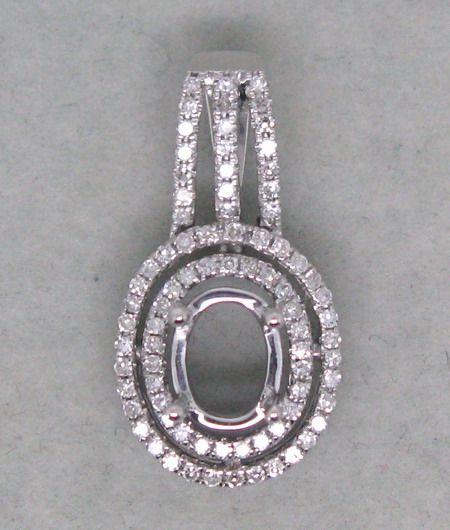 SOLID 14K White Gold DIAMOND SETTING SEMI PENDANT MOUNT