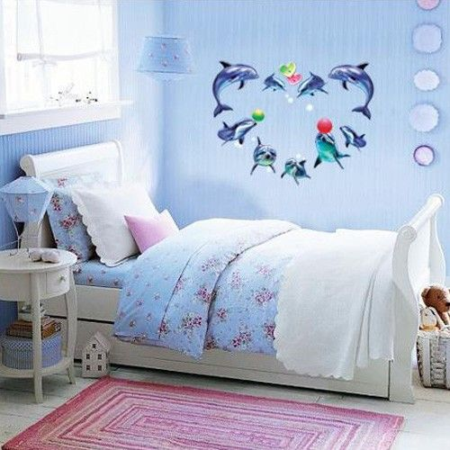 Dolphins KIDS Adhesive Removable Wall Home Decor Accents Stickers