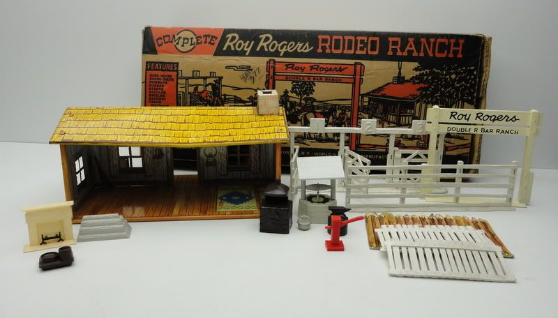 Vintage Roy Rogers Rodeo Ranch Play Set Toy Marx 1950s Partial Set