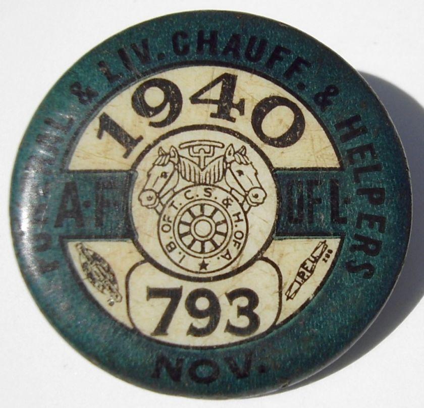 1940 Funeral & Livery Chauffers Pinback Button Pin
