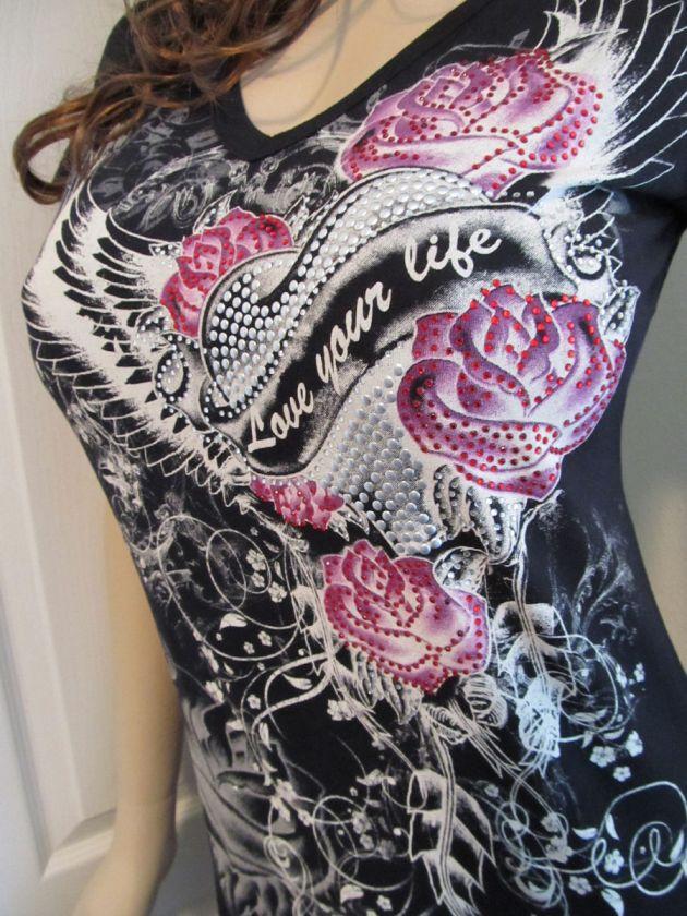 Heart Scrolls Wings Roses Silver Domes Rhinestones Tattoo Tee T Shirt