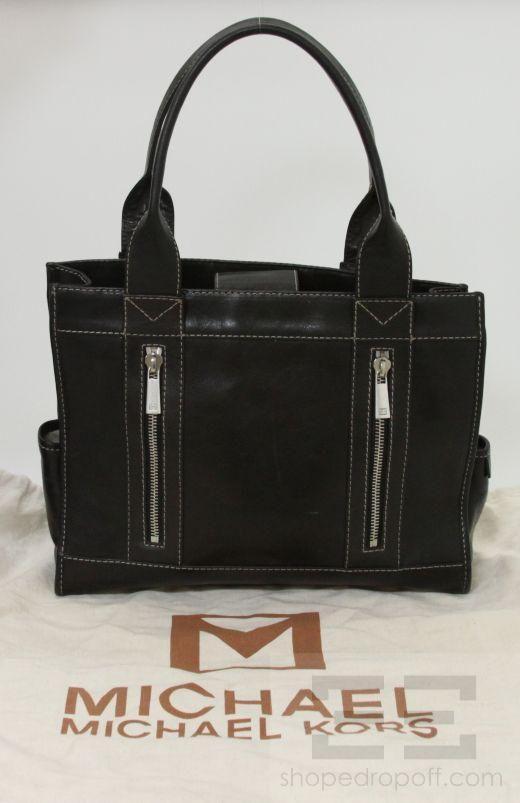 Michael Michael Kors Black Leather Topstitched Handbag