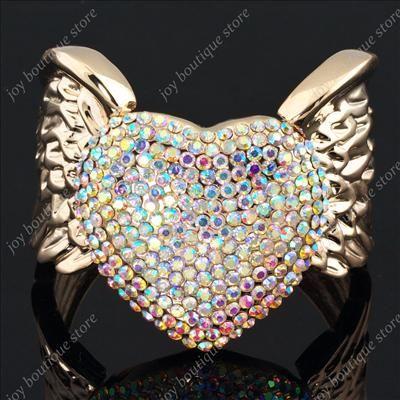 Clear AB Swarovski crystal heart Angel Wing Rose gold tone fashion